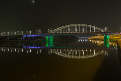 A Bridge Too Far (Jill Clardy) Tags: holland thenetherlands windmills arnhem bridge abridgetoofar operationmarketgarden wwii battlesite rhineriver water reflections night le river 201703314b4a1565 moon crescent explore explored