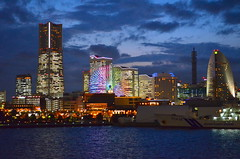 Yokohama Evening (Neal D) Tags: japan yokohama skyline buildings lights ferriswheel evening