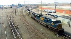 CSX SD80MAC Leading an Autorack (BuffaloRailfan30) Tags: cheektowaga ny trains csx frontier noth yard sd80mac