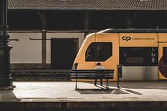 - WAITING - (Ruben Lopo) Tags: train station yellow porto portugal person pessoa comboio fade xt1 fujifilm color street photography rubenlopo