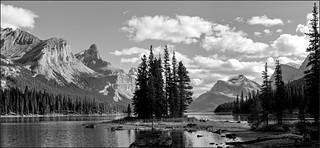 Spirit Island - Maligne Lake Panorama, Jasper National Park, Alberta, CA
