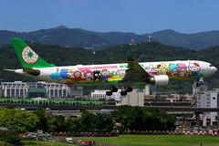 "EVA Air Airbus A330-300 ""Joyful Dream"" B-16332 (Manuel Negrerie) Tags: b16332 eva air tsa songshan airport spotting aviation airliner jetliner airbus a330300 a330 sanrio manga kitty badtzmaru livery design airlines asia canon photography"