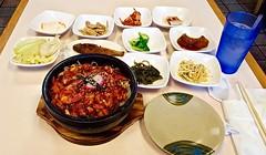 Seafood Bibim Bap (Lost in Flickrama) Tags: fremont california hotbowlofrice chili prawns beansprouts tofu fish seaweed lettuce radish octopus rice