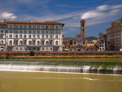 Sixty Seconds In the Heart of Florence (RobertCross1 (off and on)) Tags: 1250mmf3563mzuiko arno chiesadiognissanti em5 europe firenze florence italia italy longexposure lungarnosoderini omd oltrarno olympus piazzaognissanti toscana tuscany architecture birds bluesky church city cityscape clouds landscape medieval river tower urban water waterfall