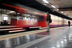 Waiting at trains - Light trails at St James (Luke Agbaimoni (last rounds)) Tags: streetphotography street london londonunderground transportforlondon tube metro lighttrails colours