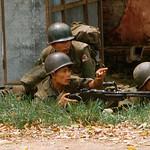 DA NANG 1966 - South Vietnmamese Soldiers Man Machine Gun During Battle thumbnail
