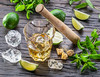 Mojito cocktail ingredients. (...na...) Tags: mojito cocktail beverage drink glass highball cuban ingredients kicker alcohol sugarcane lime mint whiterum wooden background popular bar flavour citrus ice icecubes virginmojito nojito ukraine bellflavorsweb