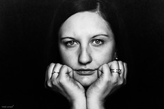 Paula (Marek Lampart) Tags: monochrome mc woman 58mm hair hands helios czech blackandwhite blackwhite bw nikon nikond5100 naturallight eye eyes people texture bestportraitsaoi