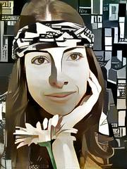 The Flower Girl (Steve Taylor (Photography)) Tags: bandana longhair art digital portrait grey brown black green white smile smiling lady woman newzealand nz southisland canterbury christchurch flower daisy pattern