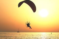 Flying & Sailing at sunset - Tel-Aviv beach (Lior. L) Tags: flyingsailingatsunsettelavivbeach flying sailing sunset telaviv beach silhouettes sea paragliding goldenhour reflection sailboat sail golden