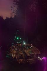 Ruosteraato - Rusty Wreck (Lauri S Laurén) Tags: longexposure lightpainting lightdrawing lightart laurilaurén night nightphoto sooc straightoutofthecamera wreck car volkswagen purple blue suomi spring finland artphoto art orange dusk contemporaryart contemporary outsiderartist old abandoned decay urbanexploration urbex green rust rusty