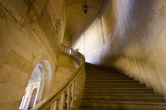 Interior of Palacio de Carlos V (rschnaible) Tags: palacio de carlos v alhambra granada spain espana sightseeing tour tourist building architecture old historic history palace stairs