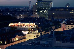 Rooftop party (No_Mosquito) Tags: vienna austria city centre urban night lights twilight canon powershot g7x mark ii roofs viewpoint party rooftop cityscape people stephansdom ststephens pummerin