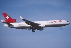 177bc - Swiss MD-11; HB-IWK@ZRH;07.05.2002 (Aero Icarus) Tags: zürichkloten zurichairport zürichflughafen zrh slidescan plane avion aircraft flugzeug