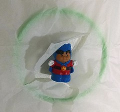 Burst Through Banner Hoop (Plastic Ring) and Tissue Paper Craft (judy_jowers) Tags: boy action craft art hoop banner burst kinetic motion tissue paper children kids through imagination play six inch plastic ring game party little people roberto superhero