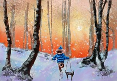 Rushing Home To Tea (Pat McDonald) Tags: artrage britain england digitalart britishisles wood nieto grandson snow winter snowfall running sledge trees soyabuelo
