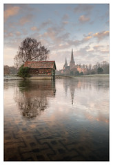 Stowe Pool (Frozen) - in explore (Dave Fieldhouse Photography) Tags: lichfielddistrict lichfield staffordshire staffordshirelife morning winter sunrise frozen ice still lichfieldcathedral reflection reflections boatshouse trees portrait fuji fujixt2 fujifilm wwwdavefieldhousephotographycom lpoty11 lpoty2017 highlycommended judgeschoice landscapephotographeroftheyear takeaview award
