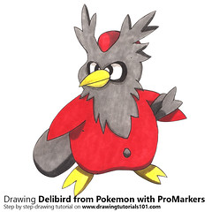 Delibird from Pokemon with ProMarkers [Speed Drawing] (drawingtutorials101.com) Tags: pokemon delibird anime manga promarkers alcohol markers promarker color colors coloring draw drawing drawings speeddrawing timelapse timelapsevideo sketch sketches sketching pencil how time lapse video