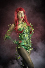 Poison Ivy (adenry) Tags: cosplay costume aniplay portrait studio smoke girl sexy poison ivy batman hair vines red green