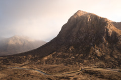 Buachaille Etive Mor, Scotland [Explored] (Sunny Herzinger) Tags: scotland sunset river mountain unitedkingdom gb