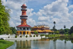 Sage's Lookout and Heavenly Light (a Chinese style royal palace) in Bang Pa-In palace near Ayutthaya, Thailand (UweBKK (α 77 on )) Tags: sageslookout sage lookout heavenly light chinese royal palace lake sky trees blue clouds architecture building tower villa pavilion water reflections bangpain bang pain ayutthaya thailand southeast asia sony alpha 77 slt dslr
