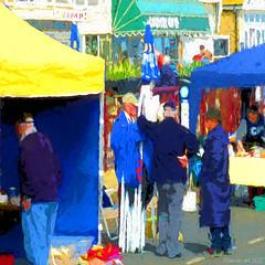 Till next month (Lemon~art) Tags: market street closing men talking people manipulated painted blue