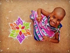 (Aravindan Rajaram) Tags: girl art smile kolam
