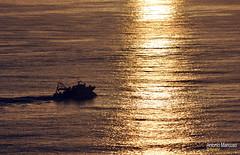 Peschereccio nel mare del tramonto