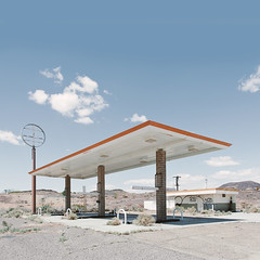 peak oil. mojave desert, ca. 2013. (eyetwist) Tags: eyetwistkevinballuff eyetwist mojavedesert abandoned gasstation gasoline canopy 76 mojave desert highdesert landscape america patina old weathered decay american west nikon d7000 nikkor 18200mmf3556gvrii processed postprocessed plugin photoshop alienskin exposure d160 americantypologies roof barstow servicestation ruin derelict roadsideamerica selfserve california yermo architecture geometry angles geometric deadsign dead retail peakoil