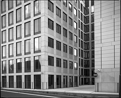 Katowice, Poland. In my neighbourhood. (wojszyca) Tags: mamiya rz67 6x7 120 mediumformat 75mm shift fuji neopan acros 100 hc110 163 gossen lunaprosbc epson v800 repetition architecture office building windows katowice