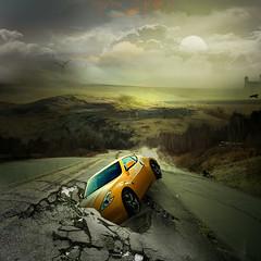 Orange car (jaci XIII) Tags: carro estrada acidente buraco neblina car accident road hole fog
