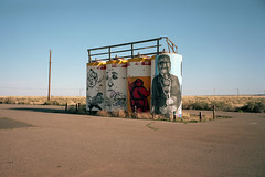 (patrickjoust) Tags: gray mountain 6x9 medium format 120 rangefinder 90mm f35 fujinon lens c41 color negative film manual focus analog mechanical patrick joust patrickjoust arizona desert az usa us united states north america estados unidos rural small town sticks tanks mural portrait other chipthomas labrona bird