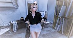 Work Studio (Sparkle Mocha) Tags: chicmoda ison shades skirt glasses sunglasses white black avatar secondlife avie foxy cellphone collabor88 marketplace truth bag purse handbag blackbag