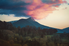 The Dusk Messenger (Raphaelle Monvoisin) Tags: sky landscape forest mountains nature blue sun light clouds pink mount dreamy cloud hill alps dusk mystical whimsical bluehour skyscape whimsy goldenhour frenchalps rhonealpes