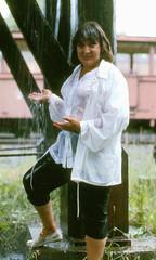 Water tower drench (clarkfred33) Tags: cumbrestoltec ct watertower dripping drench wetlady wetfun wetlook watertank wetclothes chama railroadadventure vintagerailroad vintagephoto historicrailroad