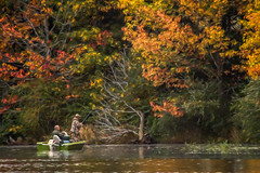 Sunday Fishermen (David DeCamp) Tags: nature water lake autumn outdoors tree forest leaf pond landscape scenics reflection tranquil people woodland boat fishing sonynex3 tokinaatx400mmf56