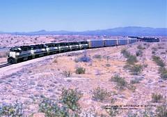 ARZC 3804, 708e, mp86, AZ. 4-17-1998 (jackdk) Tags: train railroad railway locomotive arizona arcz arizonanadcalifornia santafe atsf freighttrain freight gp38 gp30 gp35 emd emdgp38 desert
