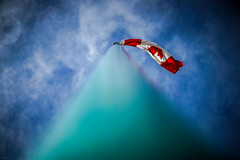 Up to the top! (Explored) (VanveenJF) Tags: standard alberta mapleleaf flag pole canada olympus zuiko sony a7ll 50mm sky blue red clouds whire flapping windy sunny above top wrapped