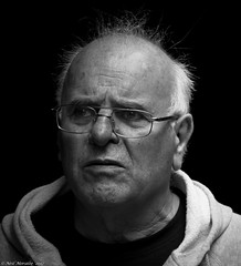 confusion (Neil. Moralee) Tags: neilmoralee neilmoraleemay2017 man face portrait old mature confusion confused illness lost alone dimentia age glasses care help blackbackground onblack black white mono bw bandw blackandwhite monochrome wiltshire warminster bald whispy hair stare fear memory loss candid street neil moralee nikon d7200 180300mm zoom grumpy sadness sad