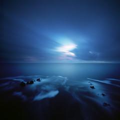 A reality so subtle (Zeb Andrews) Tags: realitysosubtle6x6 6x6 pinhole lensless pacificnorthwest landscape pacificocean kodakektar100 blue ocean twilight longexposure