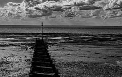 Groyne (Peter Leigh50) Tags: beach shore seaside sea seascape clouds cloud groyne sand pebble mono monochrome blackandwhite