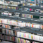 I shot bookshelves using telephoto lens from upper level. Densely. There is 117,957 books in the library. 所蔵数は117,957冊。