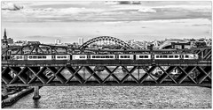 Crossing the Tyne (Blaydon52C) Tags: newcastle train blackandwhite monochrome tyne river bridge viaduct highcontrast contrast railway rail railways trains transport trams dmu class185 transpennine firsttranspennineexpress canoneos7dmkii ecml eastcoast