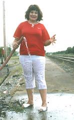 Wet 'n Wildwood, II (clarkfred33) Tags: hose railroadyard redandwhite wetfun wetclothes wetwoman wetlook 1994 wildwood whitepants wetpants water wet wetadventure wild funlady railroadscene wetshoes rinse
