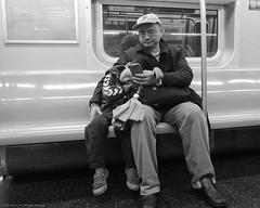 Father & Son at Day's End (Scott Yeckes) Tags: nyc newyork newyorkstory people qline aypclub blackwhite blackandwhite calm classic companionship cute fatherandsonmoment harmony love onlyinnewyork onthesubway peace rest secondavenuesubway streetphotography subway touching underground voyer