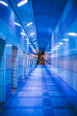 Tokyo Street (raydigital7) Tags: pedestrian walkway tunnel tokyo japan japanese asian asia blue catchy colorful color light night street perspective leading line following timetravel