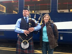 Nancy Brown RM Bagpiper (Nancy D. Brown) Tags: bagpiper nancydbrown rockymountaineer vancouver canada journeythroughtheclouds brandambassador