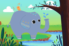 Illustration for Children: Little Elephant is Washing and Little Bird is Singing! Happy Friends at Riversides. Realistic Fantastic Cartoon Style Story / Scene / Wallpaper / Background / Card Design. (wallmistwallpaper) Tags: anime art artwork background bank bath bird birthday book card cartoon child collage concept design drawing dream elephant fairy fantastic fiction forest friend game holiday illustration imaginary kid mail paint postcard reed river riverside scene scenery sing sketch spray sticker story tale tree walk wallpaper wash water whimsical wish world