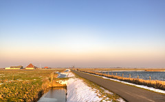 All roads lead to a mill in Holland. (Alex-de-Haas) Tags: 1635mm camperduin d750 dutch hdr hargerenpettemerpolder holland hondsbosschezeewering natuurmonumenten nederland nederlands netherlands nikkor nikkor1635mm nikon nikond750 noordholland thenetherlands westfriesland belichting cloudless daglicht daylight handheld hemel highdynamicrange landscape landscapephotography landschap landschapsfotografie licht light lighting lucht nature natuur onbewolkt polder skies sky sneeuw snow sundown sunset unclouded winter zonsondergang