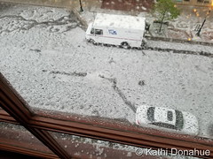 May 8, 2017 - In downtown Denver, hail accumulated on the streets. (Kathi Donahue)
